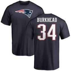 Men's Rex Burkhead New England Patriots Name & Number Logo T-Shirt - Navy