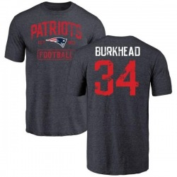 Men's Rex Burkhead New England Patriots Navy Distressed Name & Number Tri-Blend T-Shirt