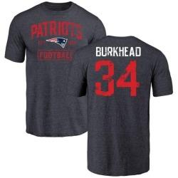 Men's Rex Burkhead New England Patriots Navy Distressed Name & Number Tri-Blend T-Shirt