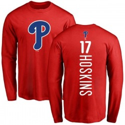 Men's Rhys Hoskins Philadelphia Phillies Backer Long Sleeve T-Shirt - Red