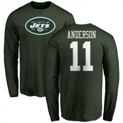 Men's Robby Anderson New York Jets Name & Number Logo Long Sleeve T-Shirt - Green