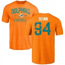 Men's Robert Quinn Miami Dolphins Orange Distressed Name & Number Tri-Blend T-Shirt