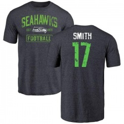 Men's Rodney Smith Seattle Seahawks Navy Distressed Name & Number Tri-Blend T-Shirt