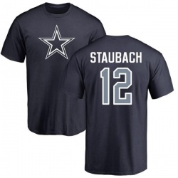 Men's Roger Staubach Dallas Cowboys Name & Number Logo T-Shirt - Navy