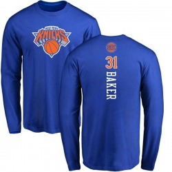 Men's Ron Baker New York Knicks Royal Backer Long Sleeve T-Shirt