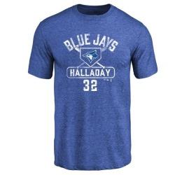 Men's Roy Halladay Toronto Blue Jays Base Runner Tri-Blend T-Shirt - Royal