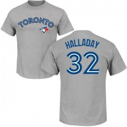Men's Roy Halladay Toronto Blue Jays Roster Name & Number T-Shirt - Gray