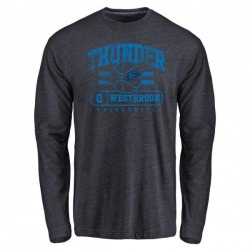 Men's Russell Westbrook Oklahoma City Thunder Navy Baseline Long Sleeve Tri-Blend T-Shirt