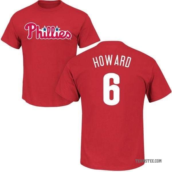 info for a80ef 1db67 Men's Ryan Howard Philadelphia Phillies Roster Name & Number T-Shirt - Red  - Teams Tee