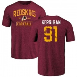 Men's Ryan Kerrigan Washington Redskins Burgundy Distressed Name & Number Tri-Blend T-Shirt