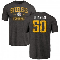 Men's Ryan Shazier Pittsburgh Steelers Black Distressed Name & Number Tri-Blend T-Shirt