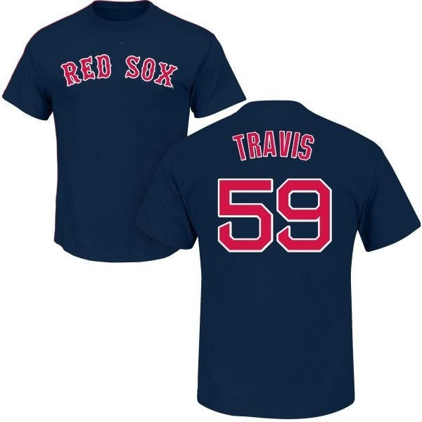 check out 4837e 563b2 Men's Sam Travis Boston Red Sox Roster Name & Number T-Shirt - Navy - Teams  Tee
