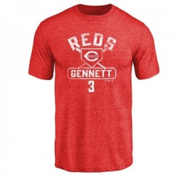 Men's Scooter Gennett Cincinnati Reds Base Runner Tri-Blend T-Shirt - Red