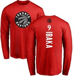 1d0f7488645 Men's Serge Ibaka Toronto Raptors Red Backer Long Sleeve T-Shirt