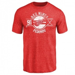 Men's Sergei Fedorov Detroit Red Wings Insignia Tri-Blend T-Shirt - Red