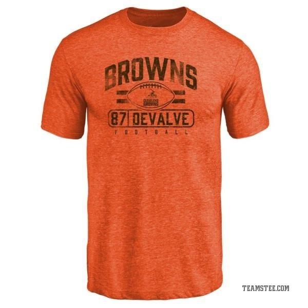 differently e7a16 01660 Men's Seth DeValve Cleveland Browns Flanker Tri-Blend T-Shirt - Orange -  Teams Tee
