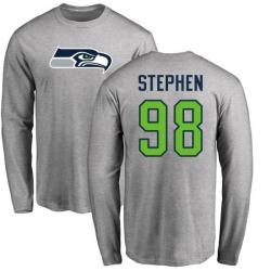 Men's Shamar Stephen Seattle Seahawks Name & Number Logo Long Sleeve T-Shirt - Ash