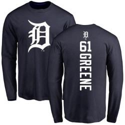 Men's Shane Greene Detroit Tigers Backer Long Sleeve T-Shirt - Navy
