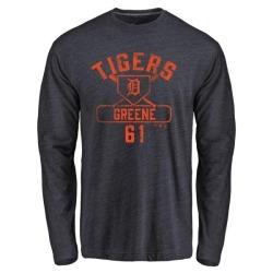 Men's Shane Greene Detroit Tigers Base Runner Tri-Blend Long Sleeve T-Shirt - Navy