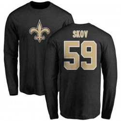 Men's Shayne Skov New Orleans Saints Name & Number Logo Long Sleeve T-Shirt - Black