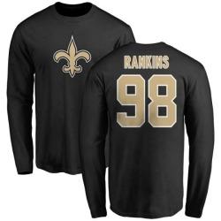 Men's Sheldon Rankins New Orleans Saints Name & Number Logo Long Sleeve T-Shirt - Black
