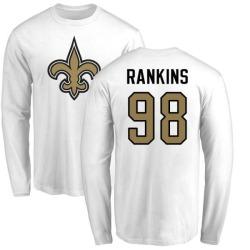Men's Sheldon Rankins New Orleans Saints Name & Number Logo Long Sleeve T-Shirt - White