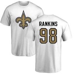 Men's Sheldon Rankins New Orleans Saints Name & Number Logo T-Shirt - White