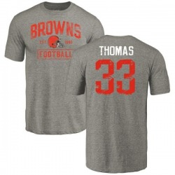 Men's Simeon Thomas Cleveland Browns Gray Distressed Name & Number Tri-Blend T-Shirt