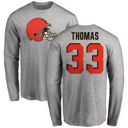 Men's Simeon Thomas Cleveland Browns Name & Number Logo Long Sleeve T-Shirt - Ash