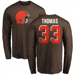 Men's Simeon Thomas Cleveland Browns Name & Number Logo Long Sleeve T-Shirt - Brown