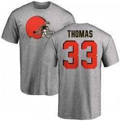Men's Simeon Thomas Cleveland Browns Name & Number Logo T-Shirt - Ash