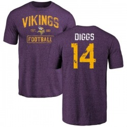 Men's Stefon Diggs Minnesota Vikings Purple Distressed Name & Number Tri-Blend T-Shirt
