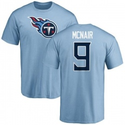 Men's Steve McNair Tennessee Titans Name & Number Logo T-Shirt - Light Blue