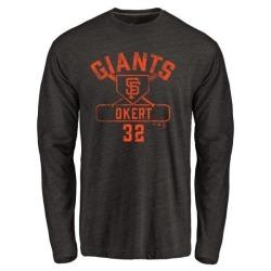 Men's Steven Okert San Francisco Giants Base Runner Tri-Blend Long Sleeve T-Shirt - Black