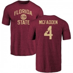Men's Tarvarus McFadden Florida State Seminoles Distressed Basketball Tri-Blend T-Shirt - Garnet