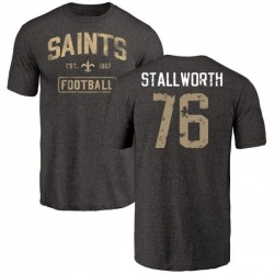 Men's Taylor Stallworth New Orleans Saints Black Distressed Name & Number Tri-Blend T-Shirt