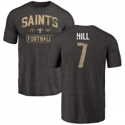 Men's Taysom Hill New Orleans Saints Black Distressed Name & Number Tri-Blend T-Shirt