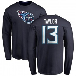 Men's Taywan Taylor Tennessee Titans Name & Number Logo Long Sleeve T-Shirt - Navy