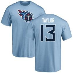 Men's Taywan Taylor Tennessee Titans Name & Number Logo T-Shirt - Light Blue