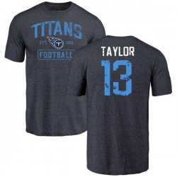 Men's Taywan Taylor Tennessee Titans Navy Distressed Name & Number Tri-Blend T-Shirt