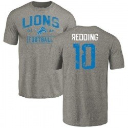 Men's Teo Redding Detroit Lions Gray Distressed Name & Number Tri-Blend T-Shirt
