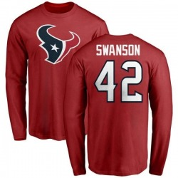 Men's Terry Swanson Houston Texans Name & Number Logo Long Sleeve T-Shirt - Red