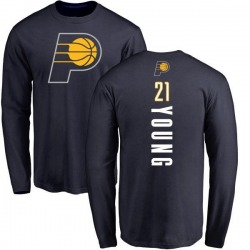 Men's Thaddeus Young Indiana Pacers Navy Backer Long Sleeve T-Shirt