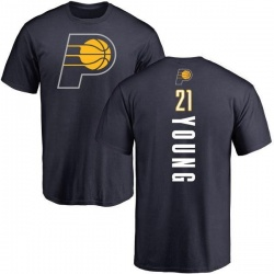 Men's Thaddeus Young Indiana Pacers Navy Backer T-Shirt