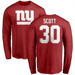 Men's Tim Scott New York Giants Name & Number Logo Long Sleeve T-Shirt - Red
