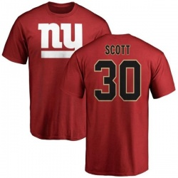 Men's Tim Scott New York Giants Name & Number Logo T-Shirt - Red