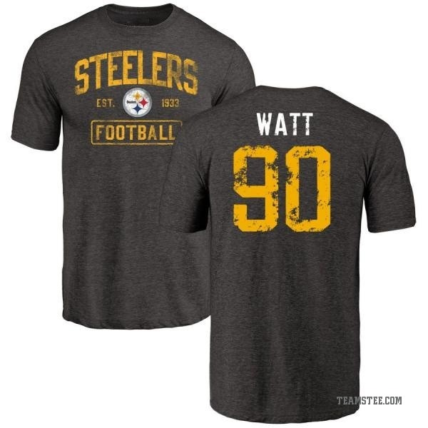Men's T.J. Watt Pittsburgh Steelers Black Distressed Name & Number Tri-Blend T-Shirt