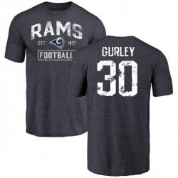 Men's Todd Gurley Los Angeles Rams Distressed Name & Number Tri-Blend T-Shirt - Navy