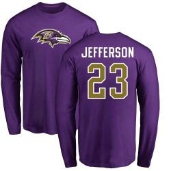 Men's Tony Jefferson Baltimore Ravens Name & Number Logo Long Sleeve T-Shirt - Purple