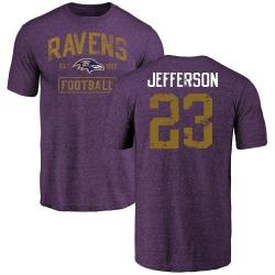 Men's Tony Jefferson Baltimore Ravens Purple Distressed Name & Number Tri-Blend T-Shirt